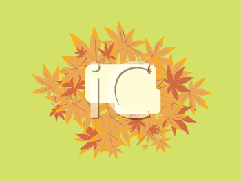 Royalty Free Clipart Image of an Autumn Leaf Frame on Green