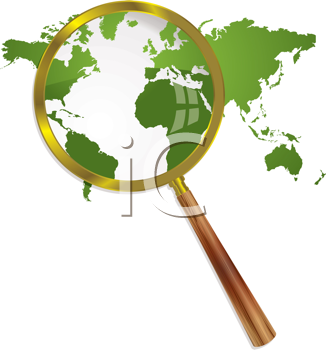 Royalty Free Clipart Image of a Green World and Magnifying Glass