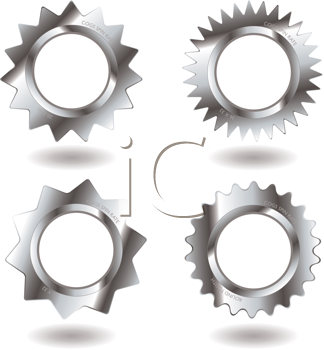 Royalty Free Clipart Image of a Set of Metal Gears