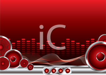 Royalty Free Clipart Image of a Speaker and Equalizer Background
