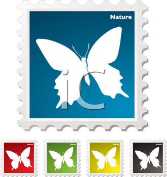 Royalty Free Clipart Image of a Butterfly Stamps