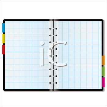 Royalty Free Clipart Image of a Book With Graph Paper