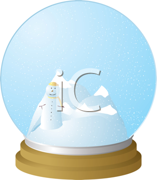 Royalty Free Clipart Image of Mountains and a Snowman in a Snow Globe