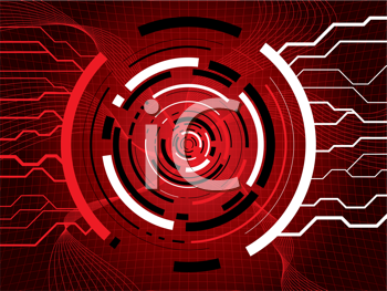 Royalty Free Clipart Image of a Red Circular Background With Lines