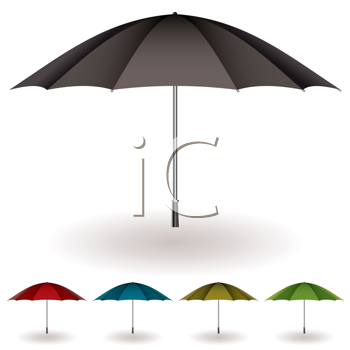Royalty Free Clipart Image of a Set of Umbrellas