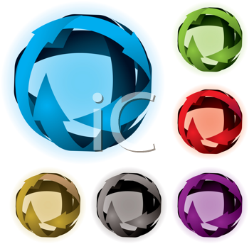 Royalty Free Clipart Image of Four Arrow Balls