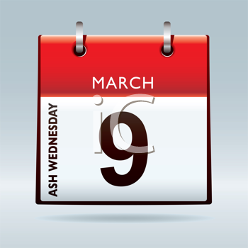 Ash wednesday calendar icon with red top and drop shadow