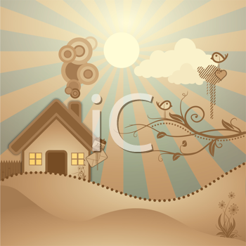 Royalty Free Clipart Image of a Rural Scene