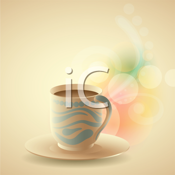 Royalty Free Clipart Image of a Cup of Coffee on a Colourful Background