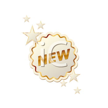 Royalty Free Clipart Image of a Label With Stars