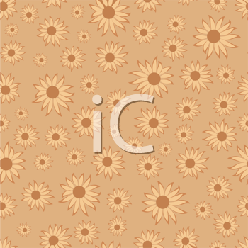 Royalty Free Clipart Image of a Flower Pattern in Brown