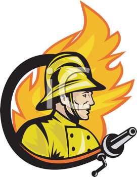Royalty Free Clipart Image of a Firefighter in Front of a Fame Encircled by a Hose