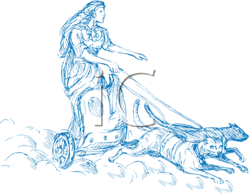 Royalty Free Clipart Image of a Mythological Woman in a Chariot Pulled By Cats