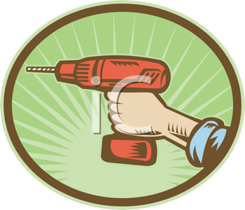 Royalty Free Clipart Image of a Hand Holding a Cordless Drill