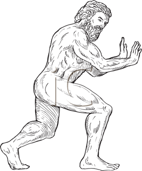 Royalty Free Clipart Image of a Mythical Type of Man Pushing