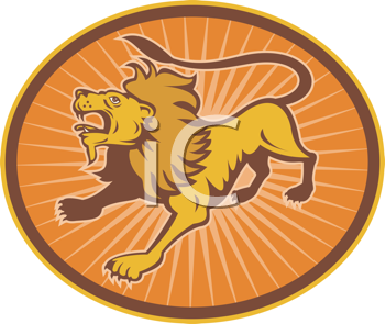 Royalty Free Clipart Image of a Roaring Lion
