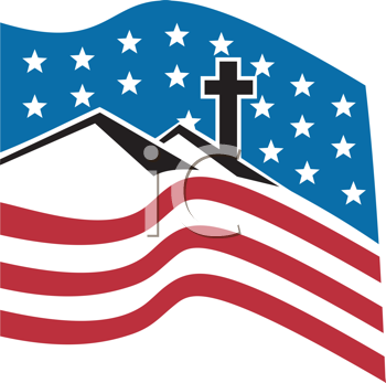 Royalty Free Clipart Image of a Logo Of Mountains and a Cross on the American Flag