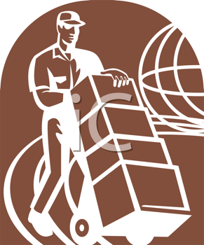 Royalty Free Clipart Image of a Man Moving Storage Boxes