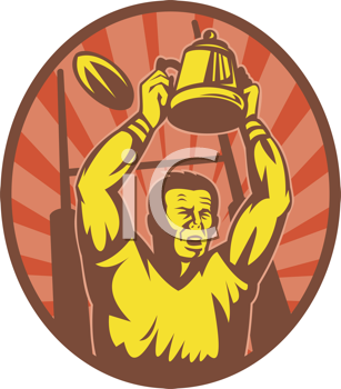 Royalty Free Clipart Image of a Rugby Man Holding Up the Cup