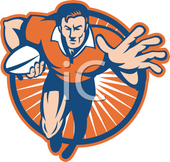 Royalty Free Clipart Image of a Rugby Player