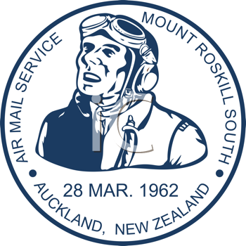 Royalty Free Clipart Image of a Mail Pilot Stamp