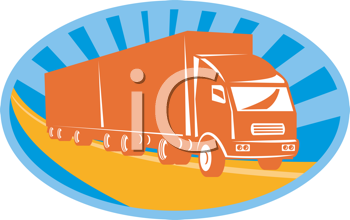 Royalty Free Clipart Image of a Big Containment Van
