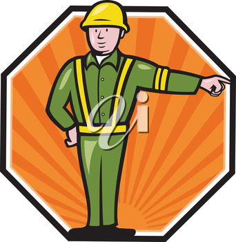 Illustration of an emergency worker wearing hardhat and high visibility vest pointing to side set inside octagon done in cartoon style.