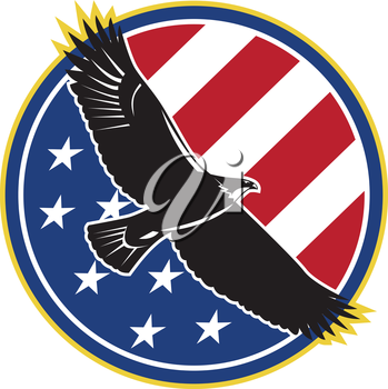 Illustration of a bald eagle soaring flying with american USA stars stripes flag set inside circle on isolated background done in retro style.