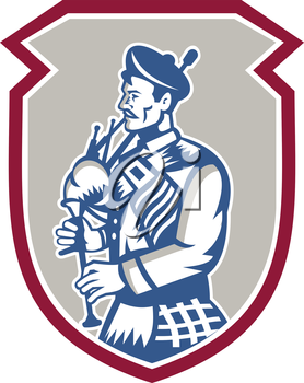 Illustration of a scotsman bagpiper playing bagpipes viewed from side set inside shield crest on isolated background done in retro woodcut style.