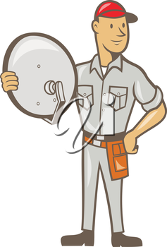 Illustration of a cable tv installer guy holding satellite dish viewed from front done in cartoon style on isolated white background.