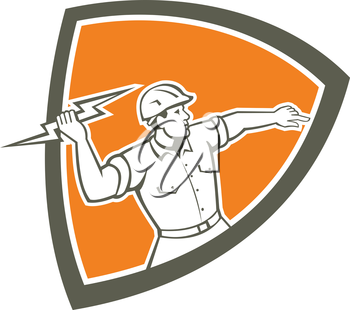 Illustration of an electrician construction worker holding a lightning bolt throwing viewed from the side set inside shield crest done in retro style on isolated background.