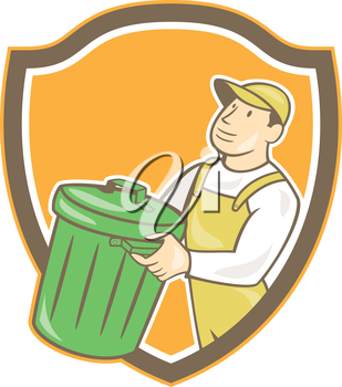 Illustration of a garbage collector carrying garbage waste rubbish bin looking to the side set inside shield crest shape on isolated background done in cartoon style.