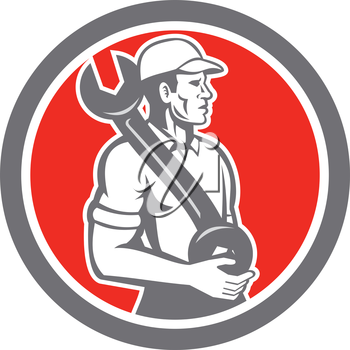 Illustration of a mechanic wearing hat holding spanner wrench on shoulder looking to the side set inside circle on isolated background done in retro style.