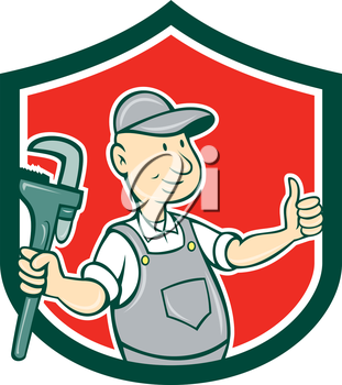 Illustration of a plumber thumbs up holding monkey wrench set inside shield crest  on isolated background done in cartoon style.