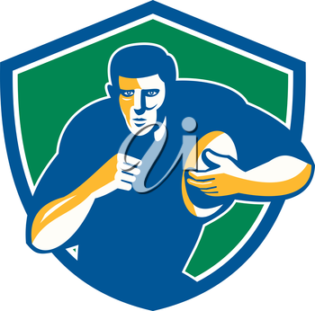 Illustration of a rugby player holding ball running charging fending facing front set inside shield crest on isolated background done in retro style.