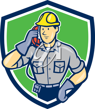 Illustration of telephone repairman worker tradesman holding calling phone set inside shield crest done in cartoon style on isolated background