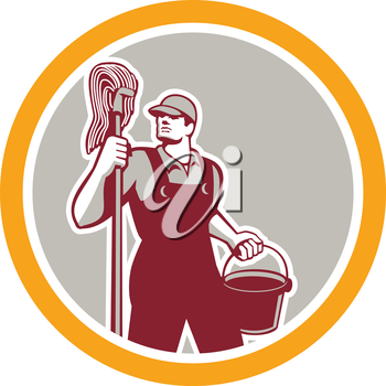 Illustration of a janitor cleaner worker holding mop and water bucket pail viewed from front set inside circle on isolated background done in retro style.