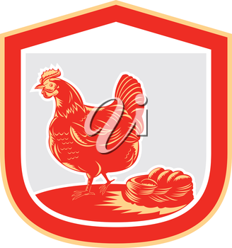 Illustration of a hen chicken side view with nest and eggs set inside shield crest done in retro woodcut style.