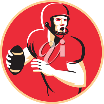 vector illustration of an american quarterback football player shouting  passing ball set inside circle done in retro style.