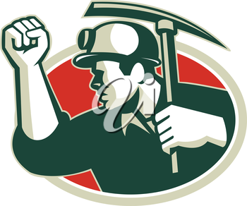 Illustration of a coal miner pumping fist with pick ax viewed from side set inside oval done in retro style.
