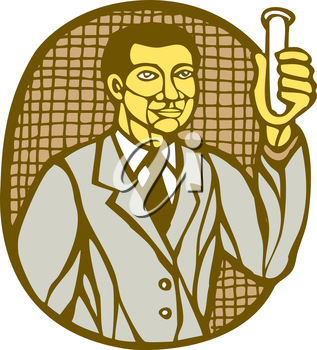 Illustration of an asian scientist holding test tube facing front set inside circle done in retro woodcut linocut style.