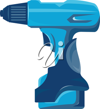 vector illustration of a concept cordless drill side view retro style on isolated white background.