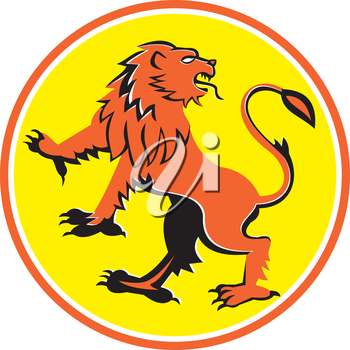 Illustration of a griffin, griffon, or gryphon prancing looking back viewed from side set inside circle on isolated background done in retro style