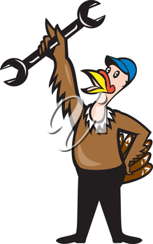 Illustration of a wild turkey mechanic standing holding spanner set on isolated white background done in cartoon style.