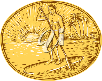 Etching engraving handmade style illustration of a man with paddle stand up paddling boarding surfing set on inside oval with sun tropical beach palm coconut trees sunburst in the background