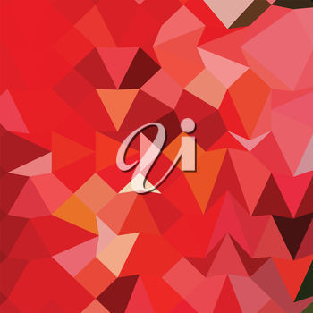 Low polygon style illustration of a candy apple red abstract geometric background.