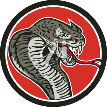 Illustration of a cobra viper snake serpent showing fangs and forked tongue viewed from side set inside circle done in retro style.