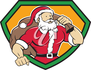 Cartoon style illustration of a muscular super santa claus saint nicholas father christmas  carrying sack over shoulder looking to the side set inside shield crest on isolated background.