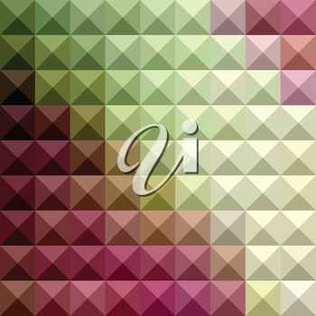 Low polygon style illustration of a deep mauve purple and green abstract geometric background.