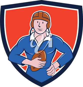Illustration of a vintage French rugby player holding ball facing front set inside crest shield done in cartoon style.